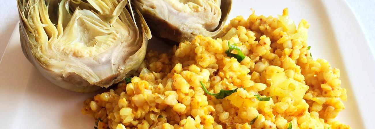 Trigo sarraceno con alcachofas y tofu